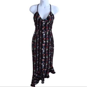 ASOS Floral Asymmetric Flutter Hem Dress Size 0